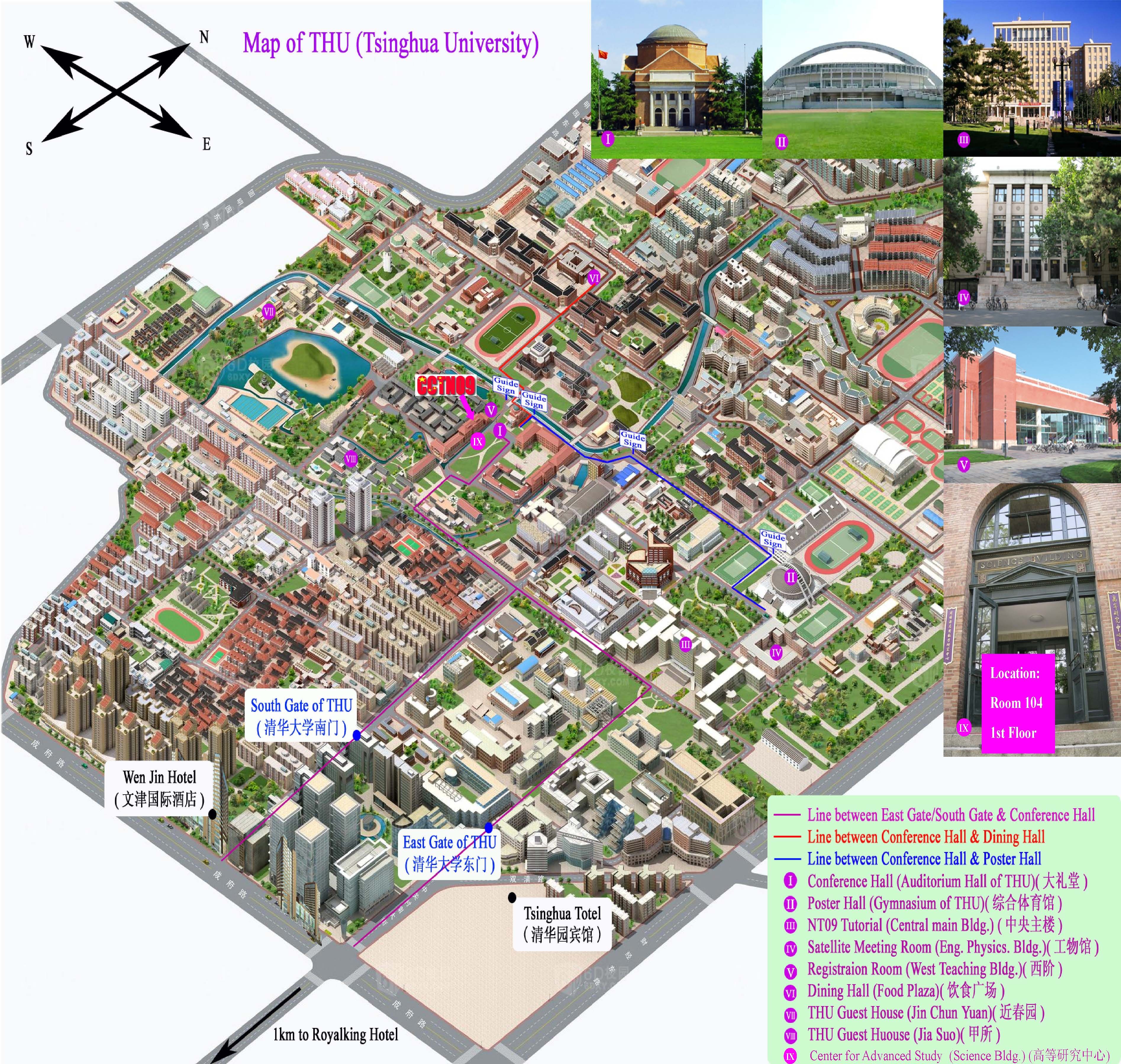 Tsinghua University Campus Map.Cctn09 Location And Directions